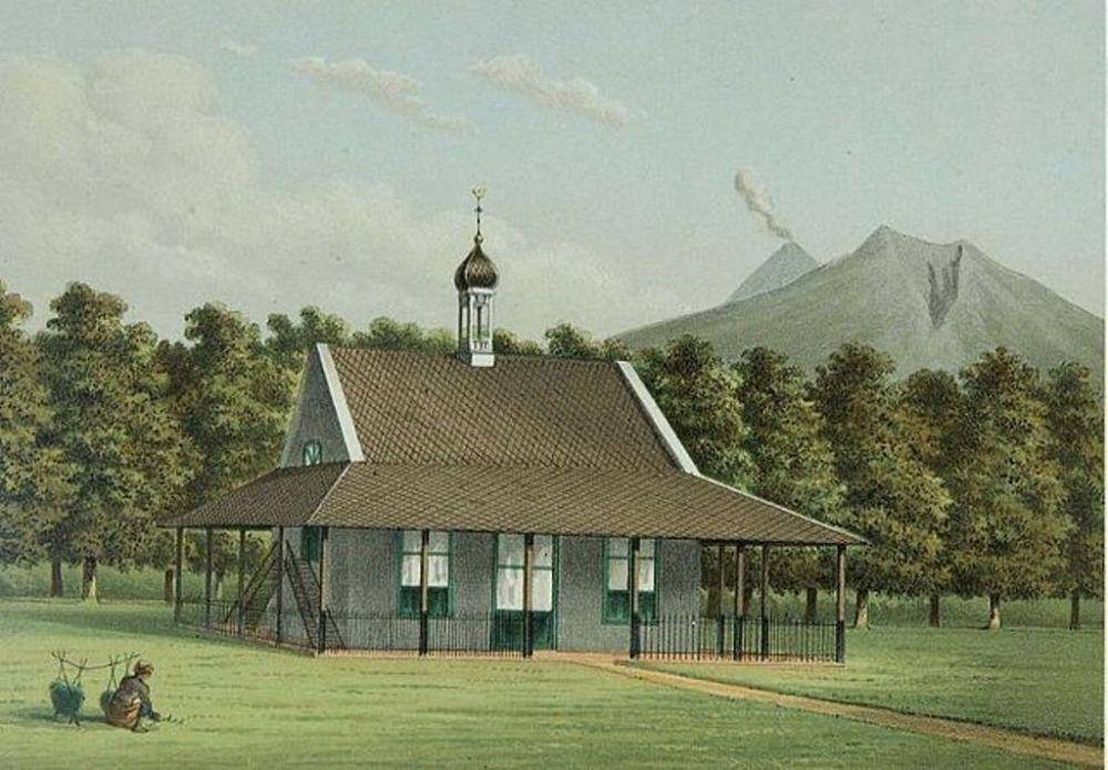 Lukisan Gereja Berlatar Belakang Gunung Merbabu di Salatiga tahun 1883 © Wikipedia
