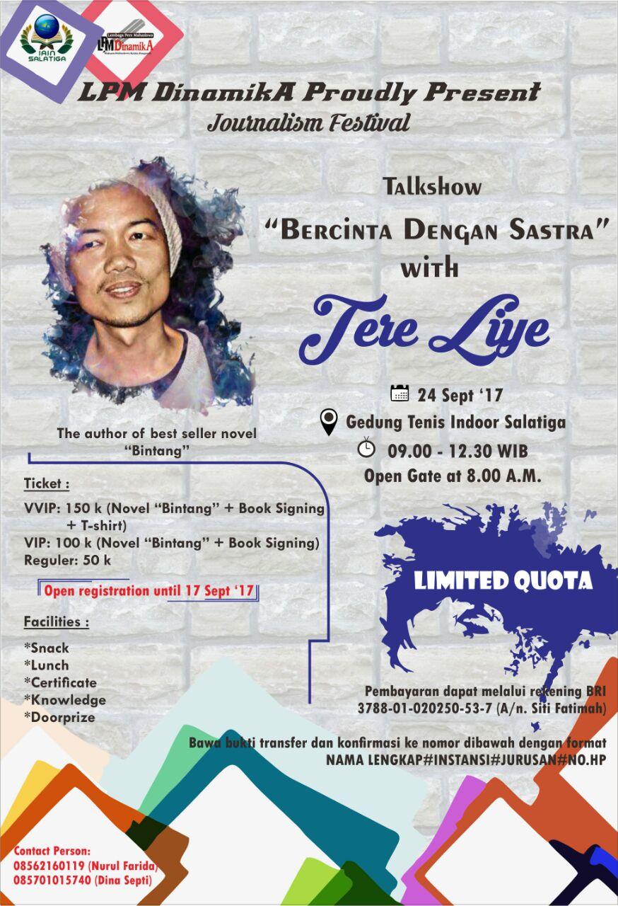 Poster Bercinta dengan Sastra With Tere Liye