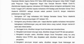 SK Rektor terkait keringanan UKT terdampak covid-19